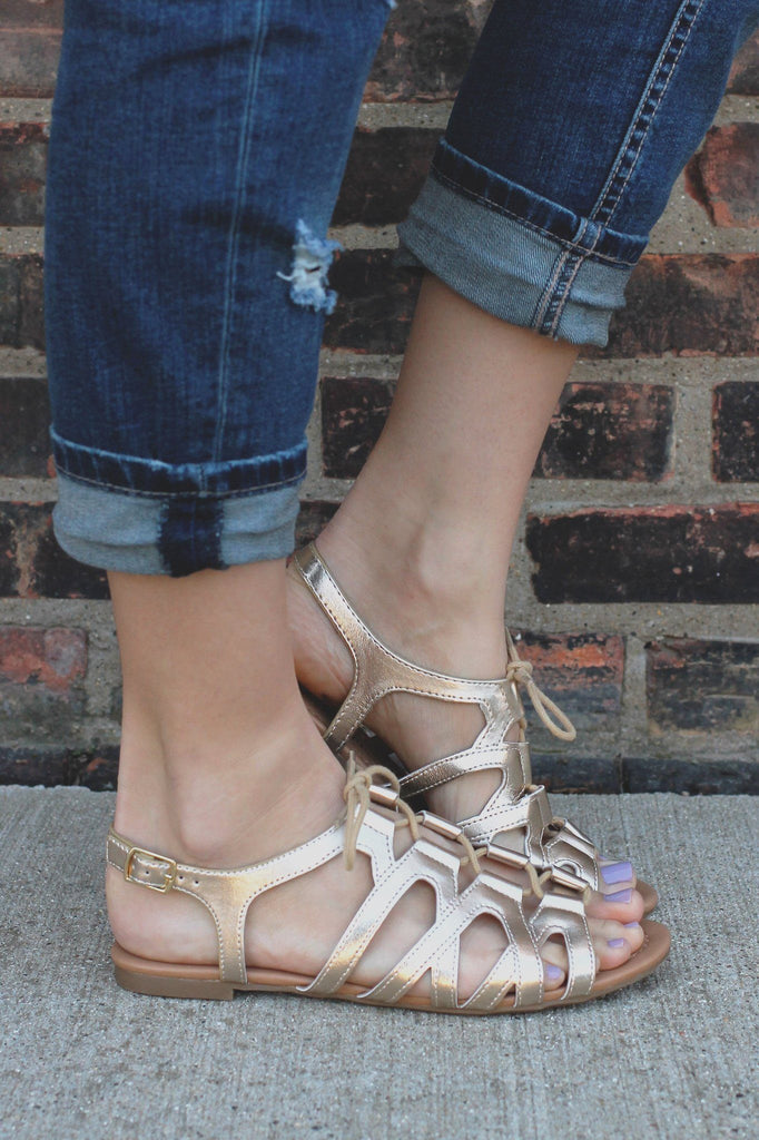 Gold Lace Up Front Flat Gladiator Sandals Joslin-S