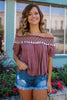 Short Sleeve Off the Shoulder Embroidered Tassel Trim Top