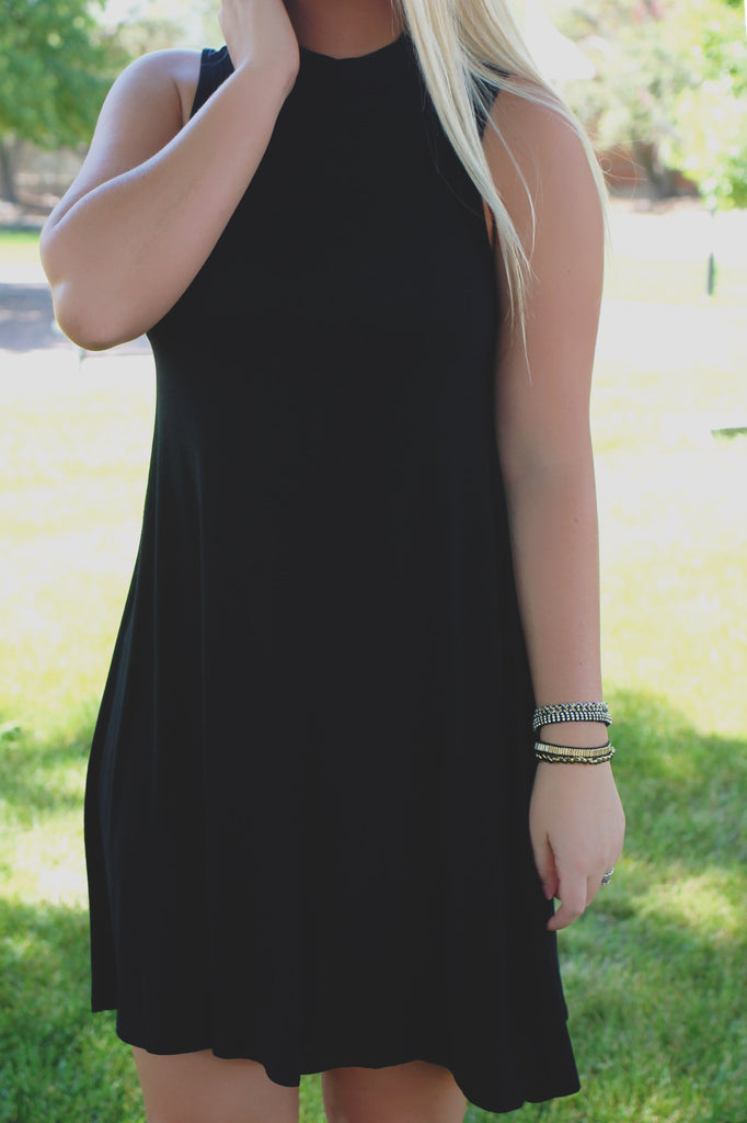 Black Sleeveless Mock Neck Trapeze Knit Dress