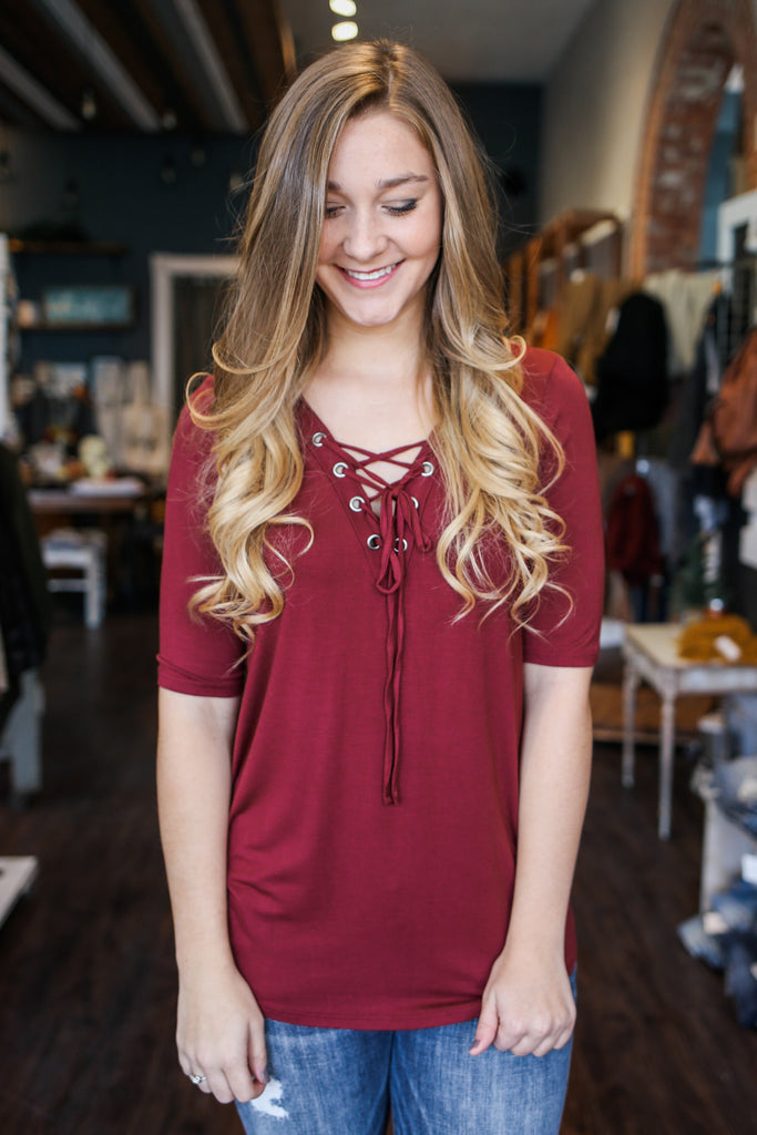 Wine Half Sleeve V-neck Lace Up Top