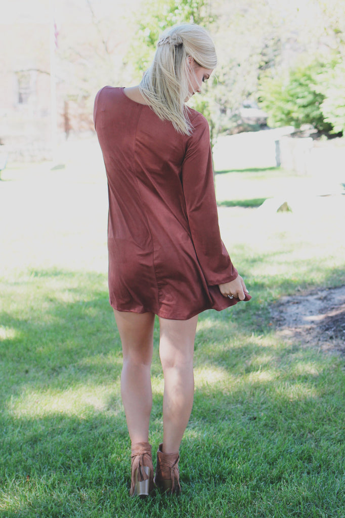 Long Sleeve Faux Suede Round Neck Swing Dress