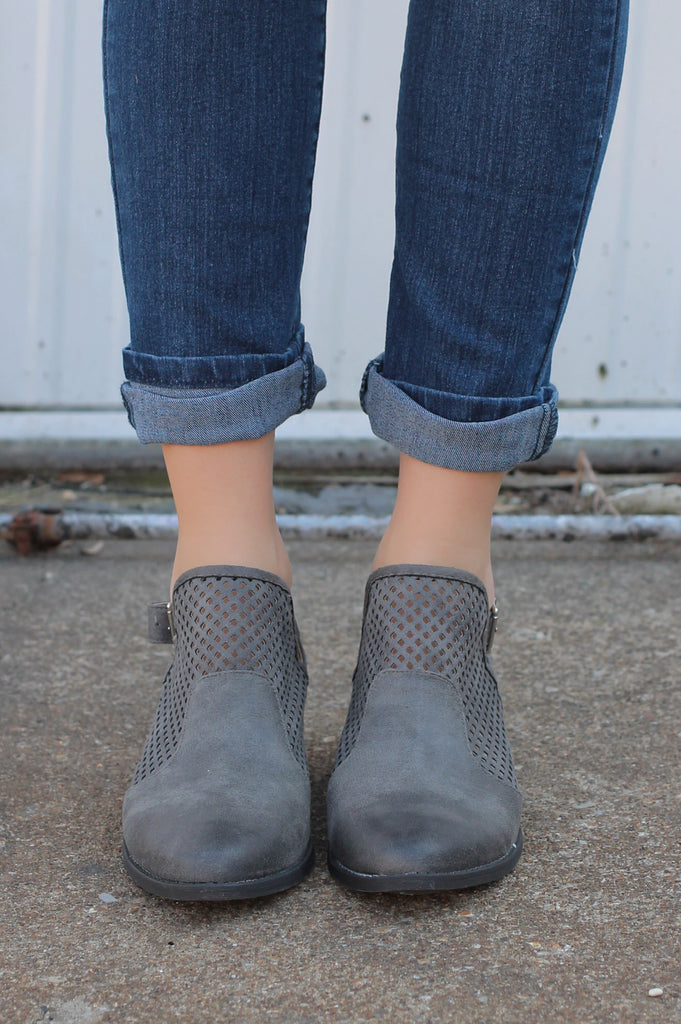 Grey Distressed Suede Perforated Detail Bootie Sochi-61