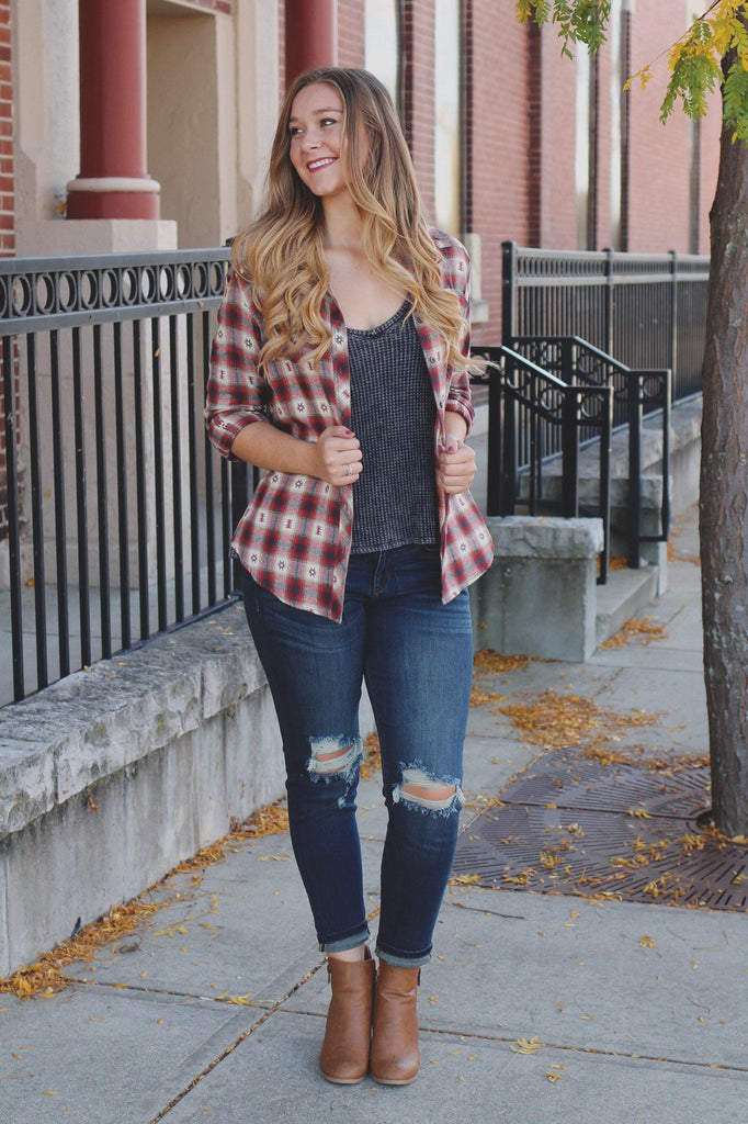 Plaid Long Sleeve Button Down Classic Collar Top