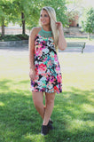 Floral Strappy Yoke Accent Self Tie Keyhole Swing Dress