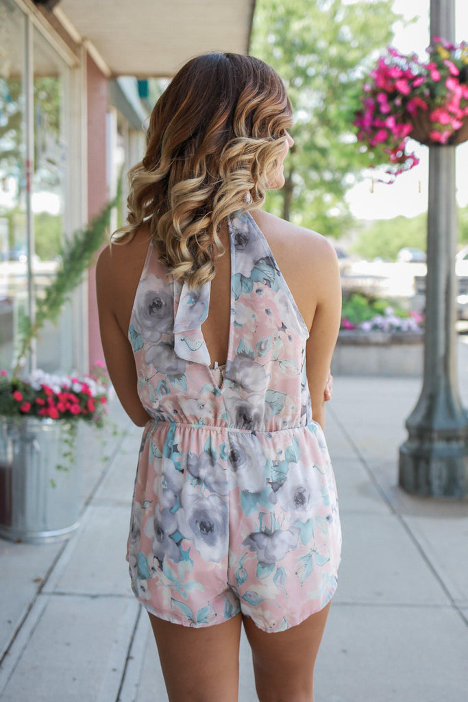 Sleeveless High Neck Keyhole Back Floral Print Romper
