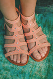 Kids Peach Gladiator Sandals FD-PIPER-63-K