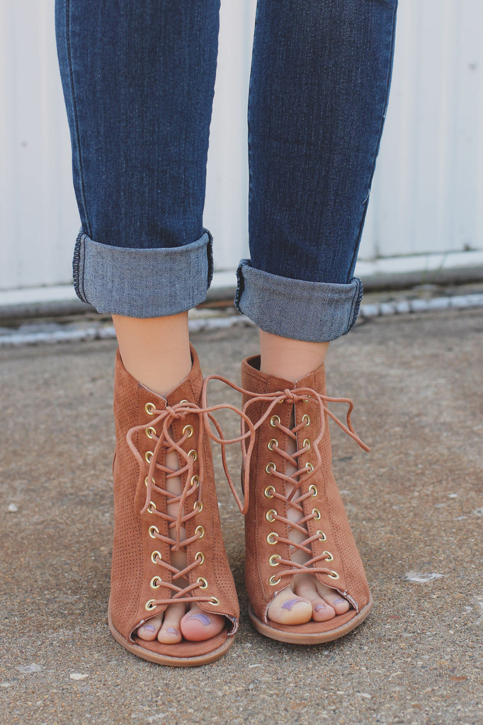 Whiskey Lace Up Faux Suede Peep Toe Bootie Dixie-01