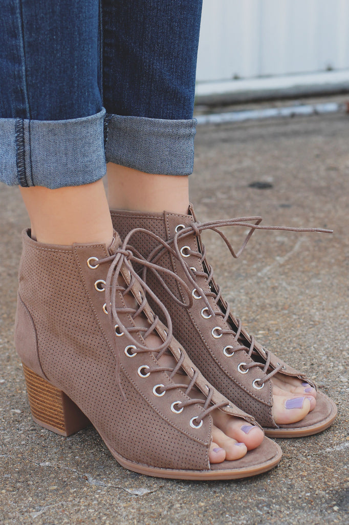 Taupe Lace Up Faux Suede Peep Toe Bootie Dixie-01
