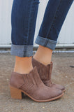 Taupe Chevron Stitch Detail Almond Toe Booties Tobin-24