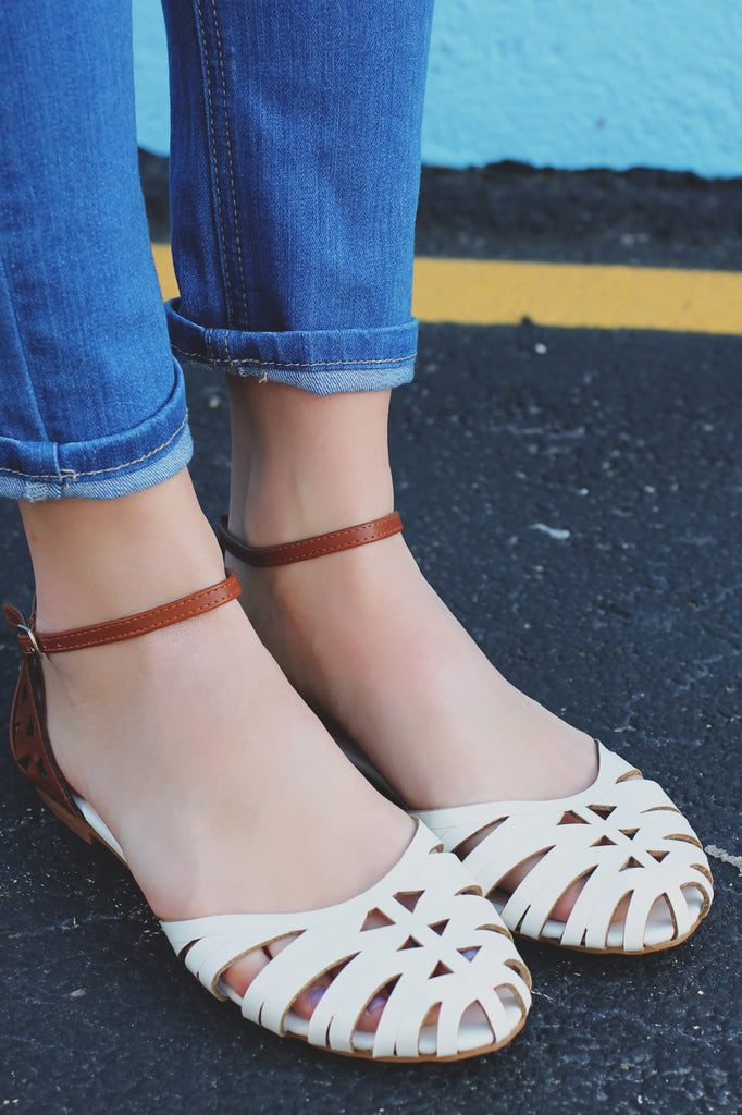 Ivory Laser Cutout Ankle Strap D'orsay Flat-Lynda-66S
