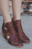 Cognac Woven Faux Leather Closed Toe Bootie Maze-93