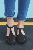 Black Faux Leather Caged Buckle Ankle Flats Yucaipa-S