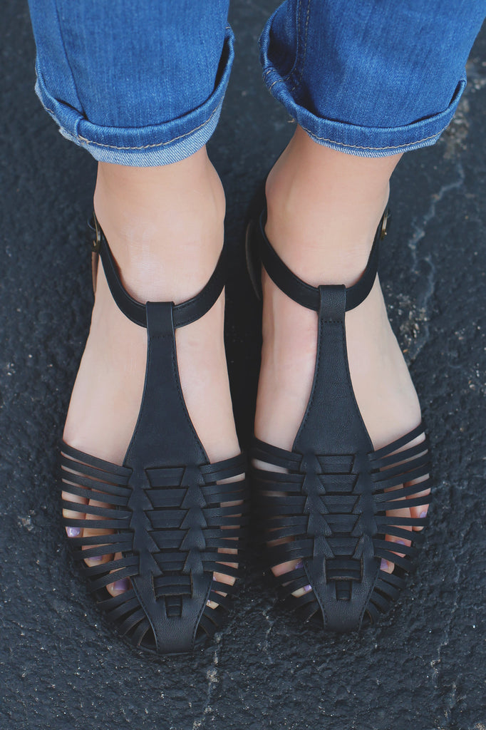 Black Faux Leather Caged Toe Buckle Ankle Flats Yucaipa-S