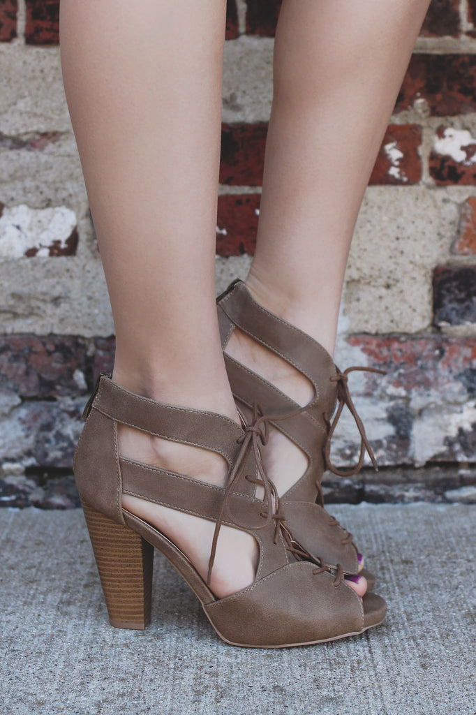 Taupe Peep Toe Lace Up Stacked Heel Bootie Bailey-33