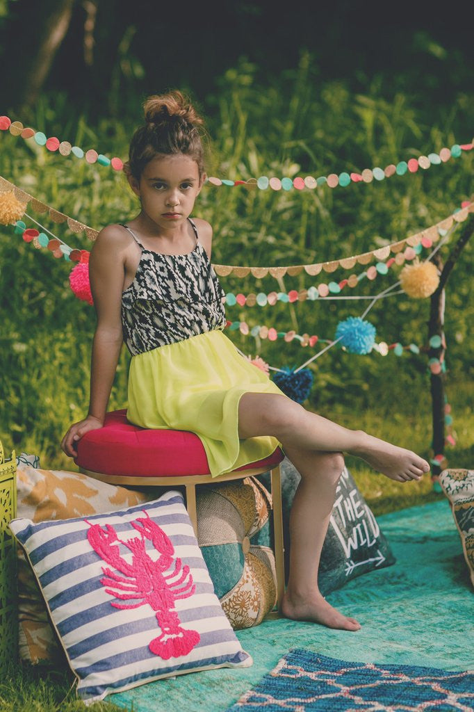 Girls Neon Yellow Tribal Print Hi-Low Dress