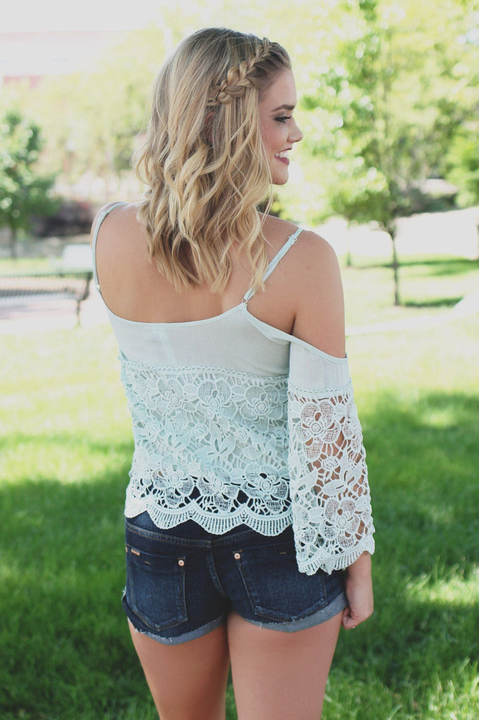Mint Lace Flounce Cami Strap Cold Shoulder Crop Top