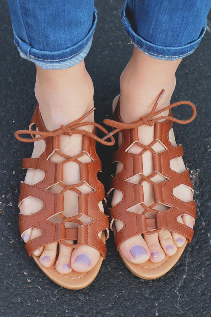 Whiskey Lace Up Front Flat Gladiator Sandals Joslin-S