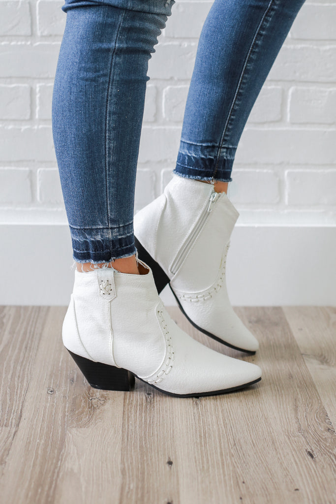 Rhythm-18 White Western Booties - Online Clothing Boutique