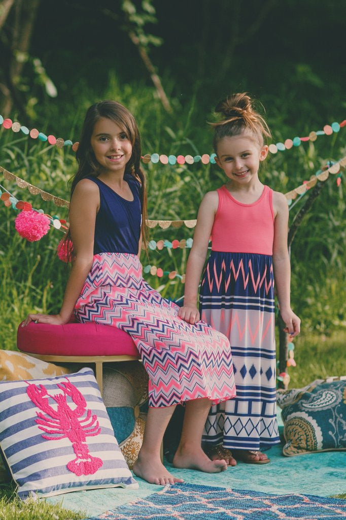 Kids Navy Chevron Crochet Heart Detail Maxi Dress