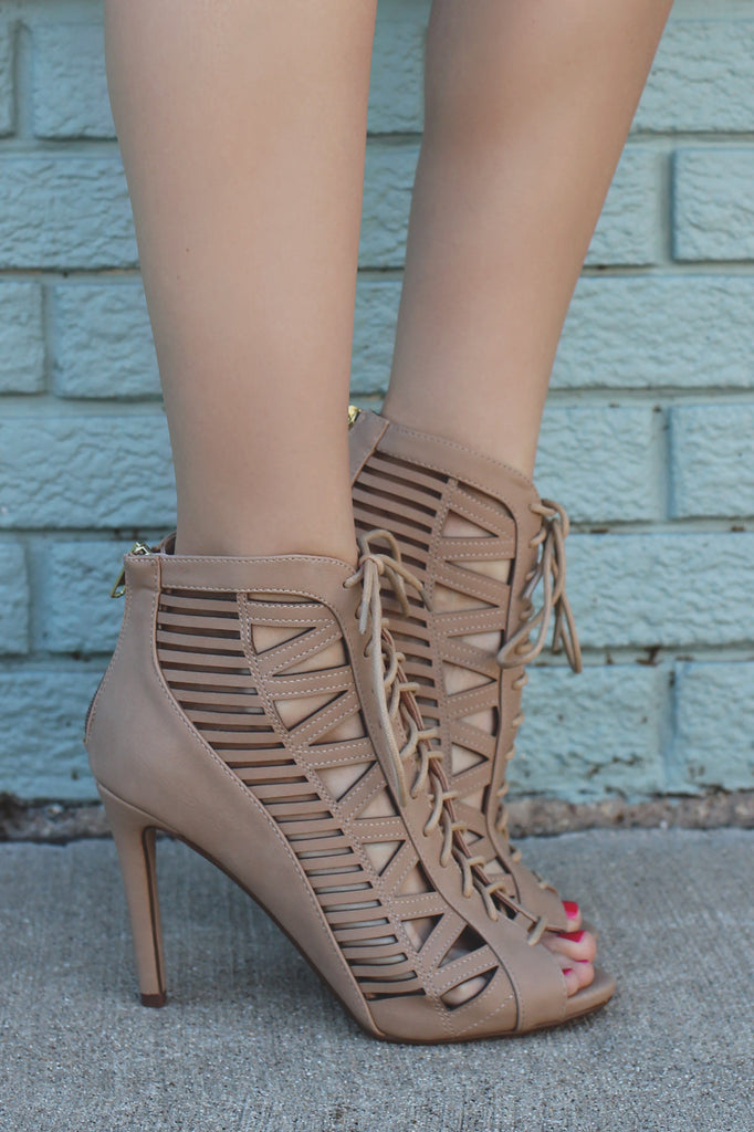 Sand Peep Toe Cut Out Lace Up Heels Tinley-H