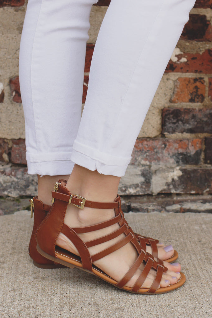 Whiskey Buckle Accent Strappy Gladiator Sandal Dixon-AS