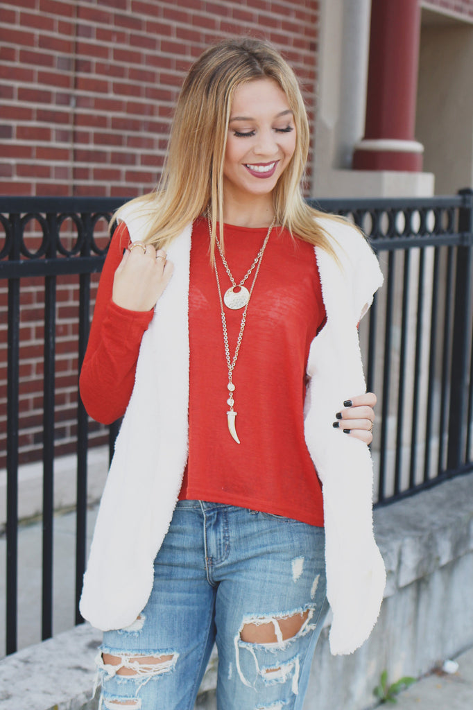 Faux Fur Open Front Pocketed Hooded Vest