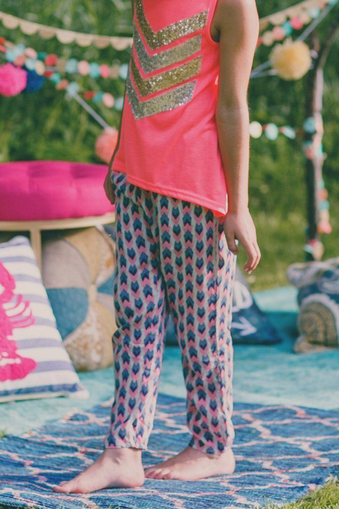 Girl's Chevron Printed Harem Pants