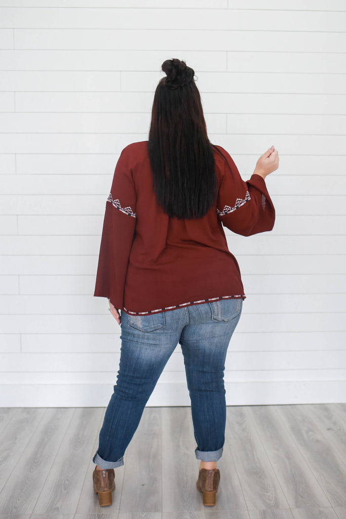 Plus Size Embroidered Peasant Top - Online Clothing Boutique