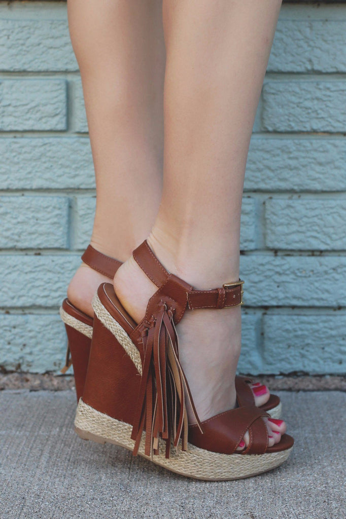 Side Fringe Accent Braided Rope Wedge MADISON-134