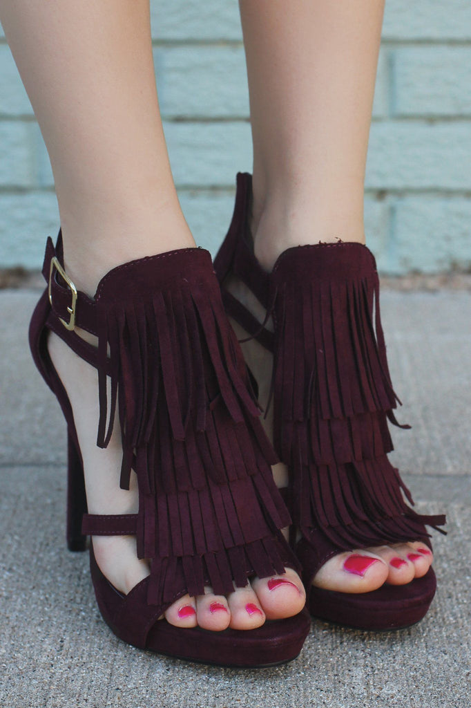 Tiered Fringe Vamp Zipper Back Stiletto Heel Reefs-S