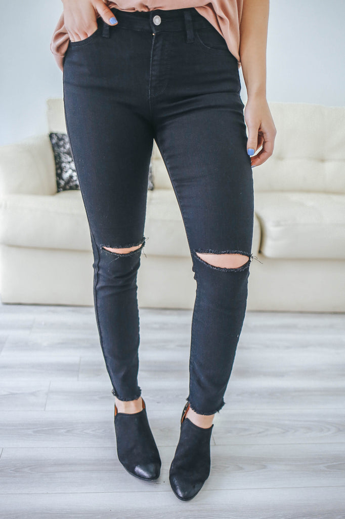 Black Distressed Denim - Online Clothing Boutique