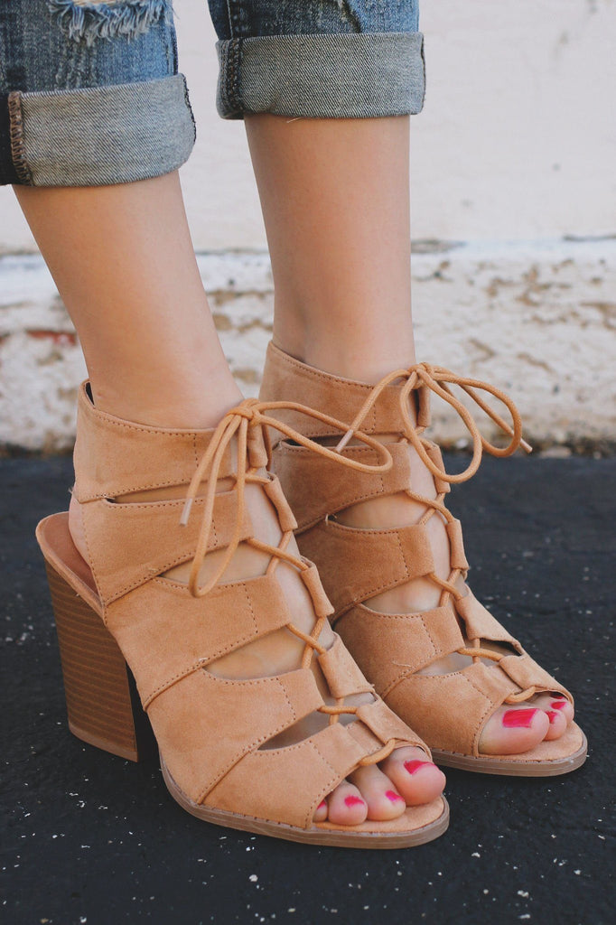 Toffee Gladiator Style Caged Peep Toe Bootie Barnes-01