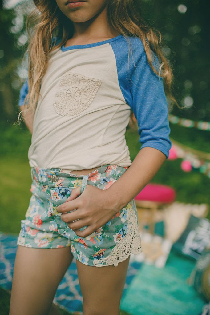 Kids Floral Printed Crochet Sides Denim Shorts