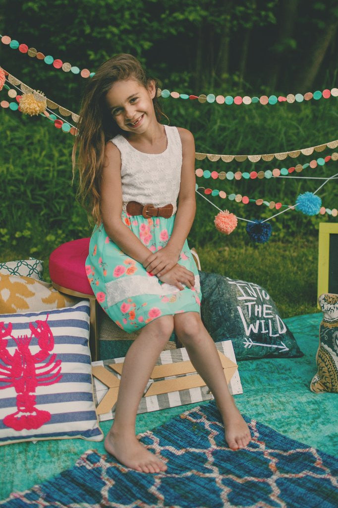 Kids Floral Crochet Lace Top Dress