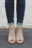 Taupe Faux Suede Open Toe Tassel Detail Booties Core-28
