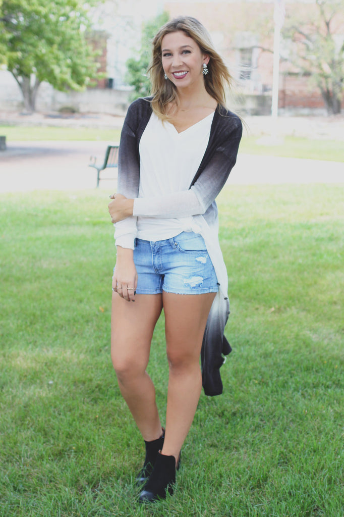 Charcoal Two-Toned Lightweight Duster Cardigan