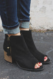 Black Faux Suede Open Toe Tassel Detail Booties Core-28