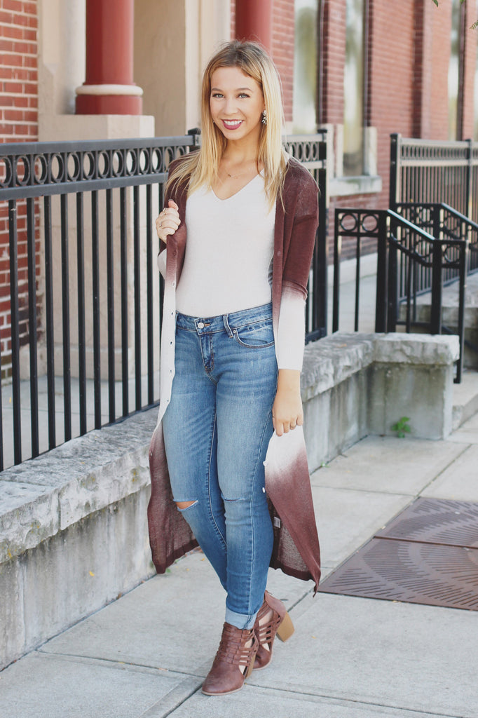Chocolate Two-Toned Lightweight Duster Cardigan
