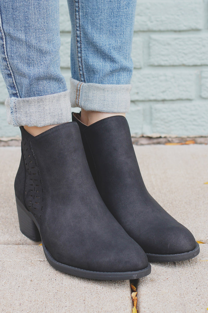 Black Perforated Almond Toe Ankle Booties Philly-03