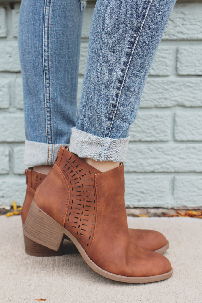 Cognac Perforated Almond Toe Ankle Booties Philly-03