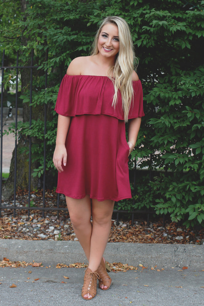 Burgundy Elastic Off the Shoulder Flounce Layer Dress