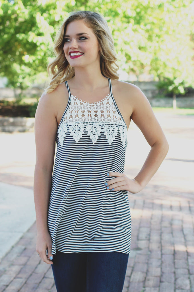 Stripe Crochet Lace High Neck Stretchy Knit Top