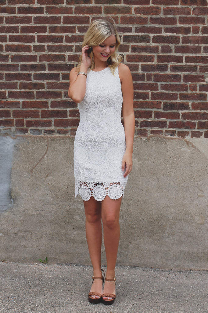 White Floral Crochet Overlay Bodycon Dress