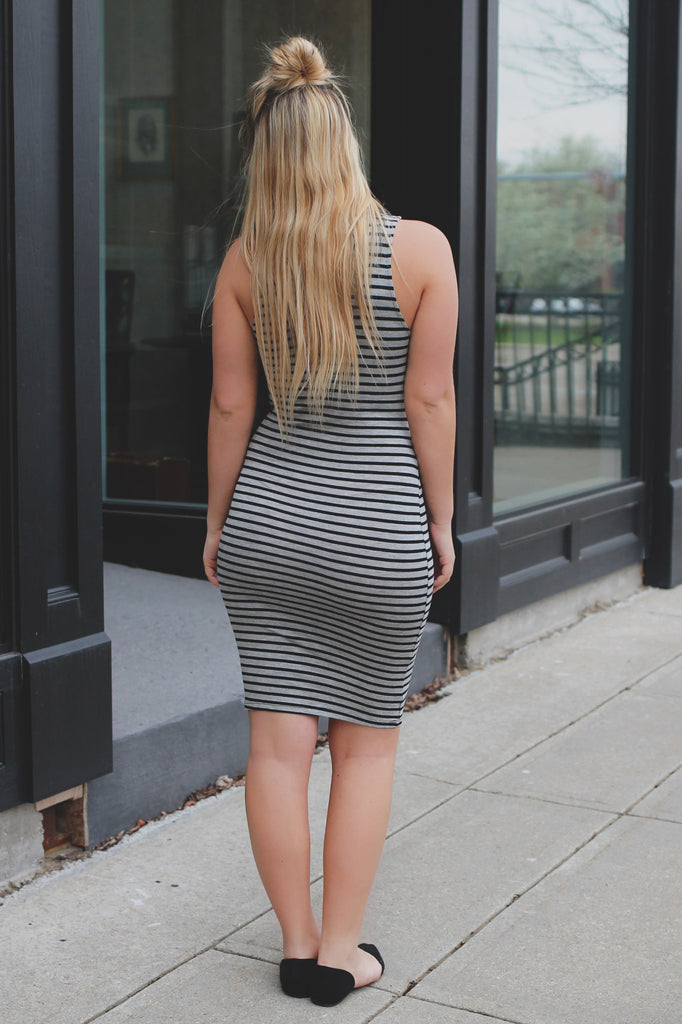 Striped Deep V-neck Side Cutout Bodycon Dress