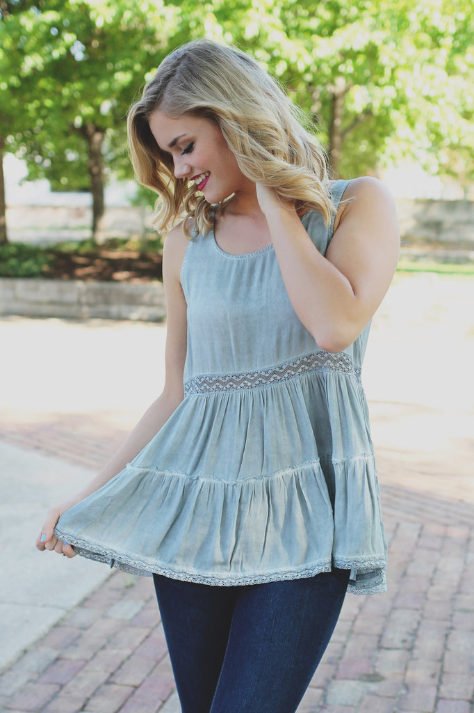 Mineral Wash Open Lace Panel Ruffle Hem Trapeze Top