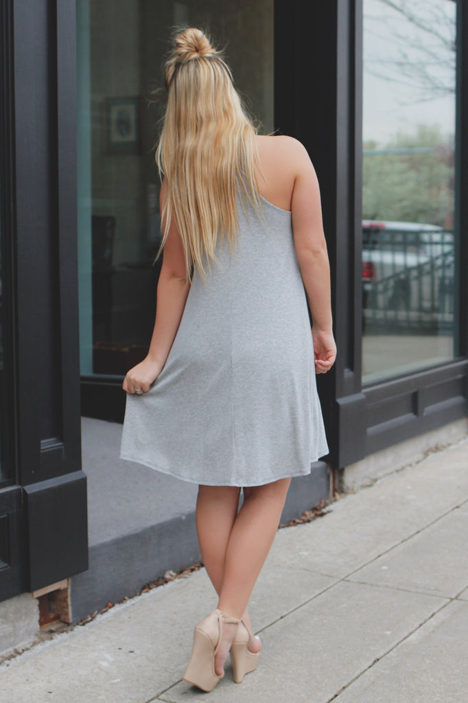 Heather Grey Ribbed Knit Cami Strap Trapeze Dress