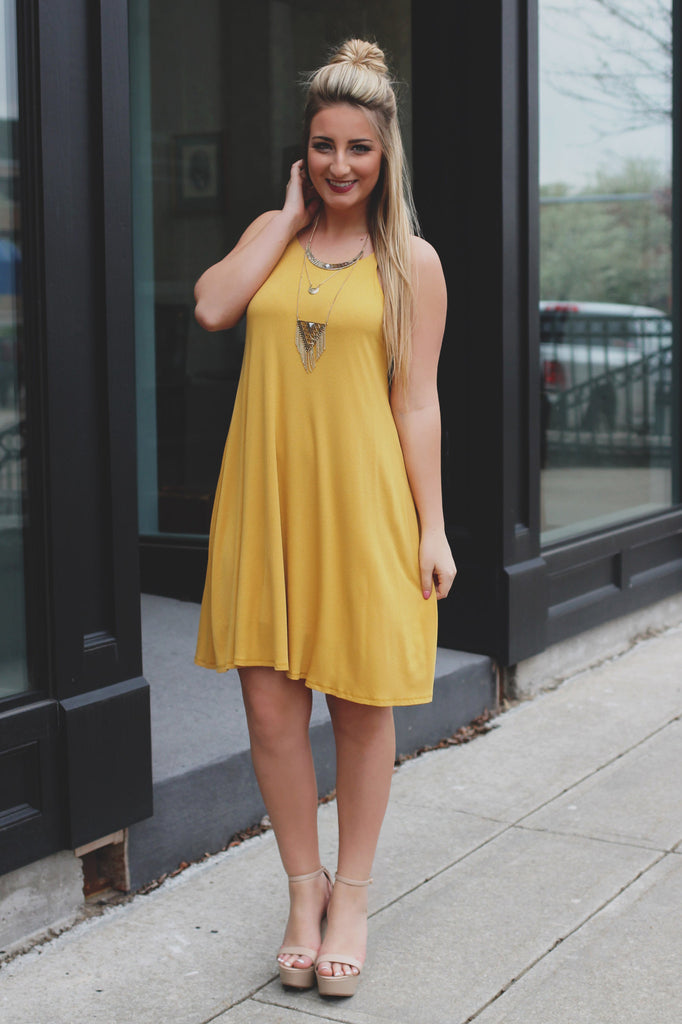 Sunflower Ribbed Knit Cami Strap Trapeze Dress