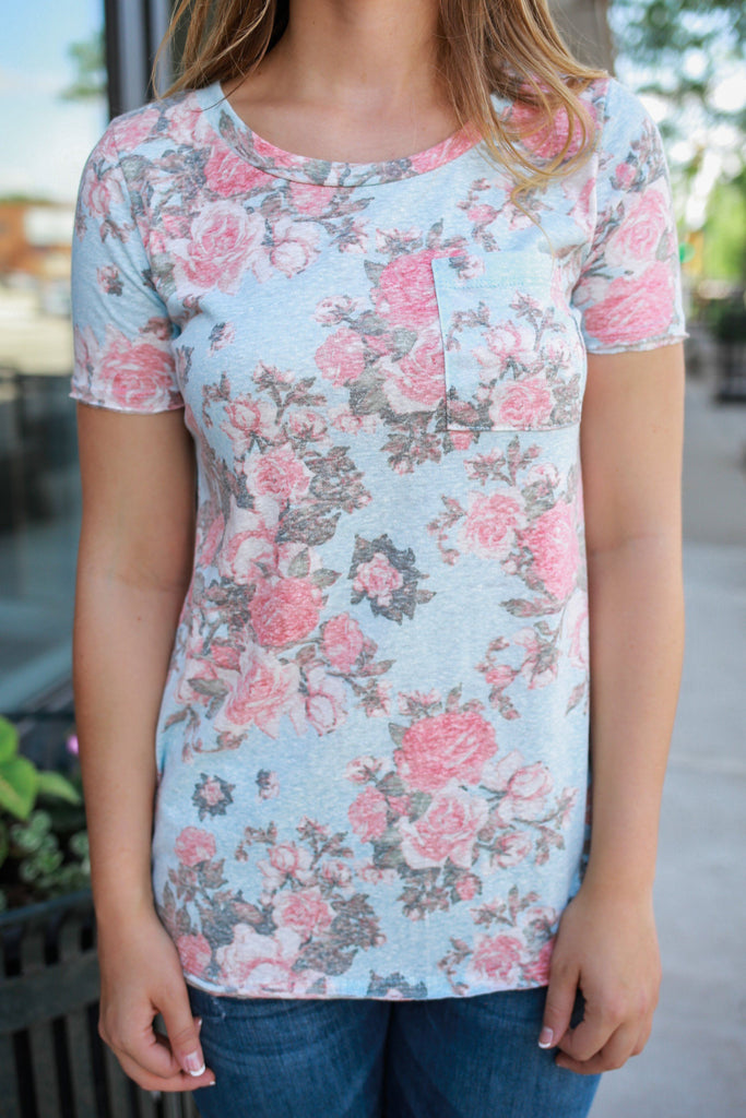 Mineral Washed Floral Print Short Sleeve Round Neck Pocket Tee Top