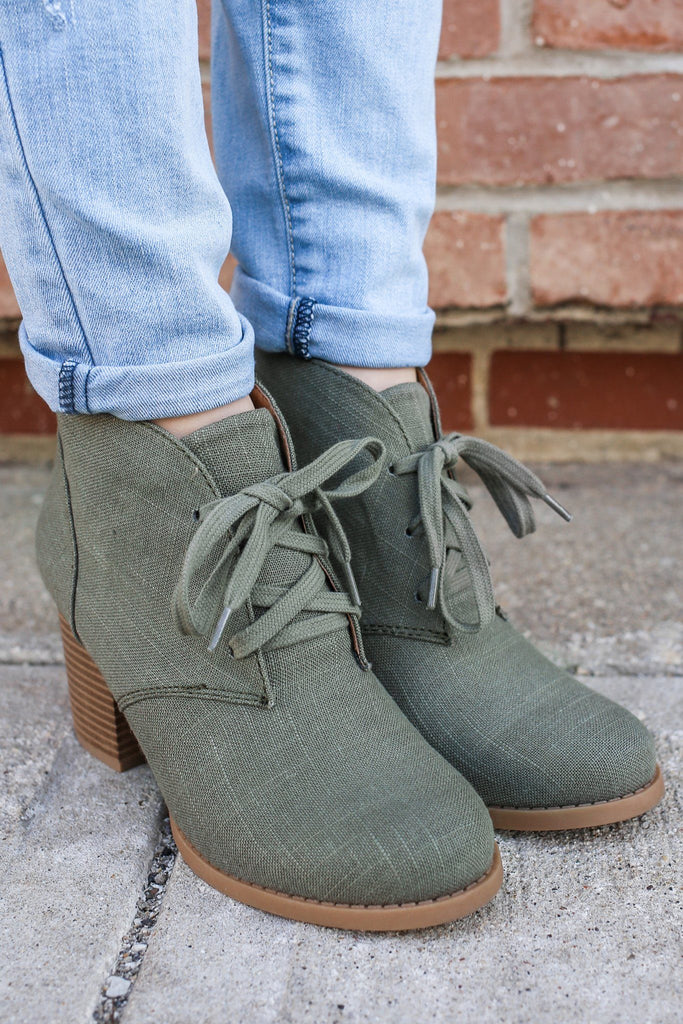 Canvas Round Toe Lace Up Booties Ripley-S