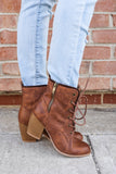 Distressed Faux Leather Round Toe Booties Maze-105